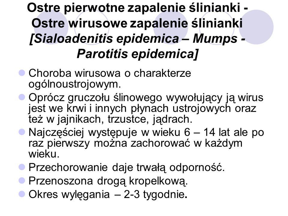 Ostre pierwotne zapalenie ślinianki - Ostre wirusowe zapalenie ślinianki [Sialoadenitis epidemica – Mumps - Parotitis epidemica]